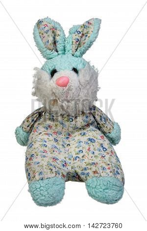 Old toy hare isolated on white background with clipping path