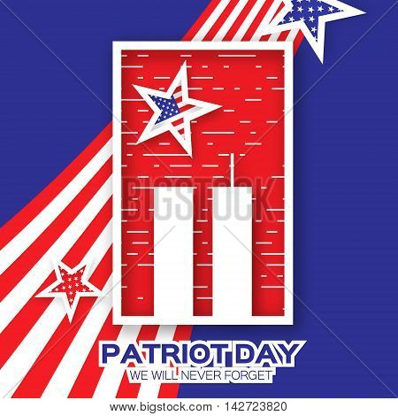 Origami Patriot Day on blue background. Twin Tower with rectangle frame. Abstract american flag. Stars and stripes. We will never forget. September 11 2001. Vector illustration. Poster Template.