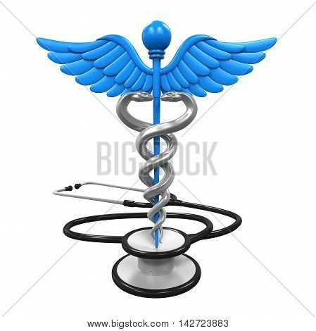 Caduceus Symbol and Stethoscope isolated on white background. 3D render