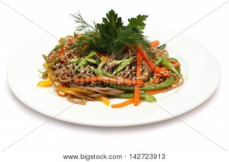 Asian cuisine - udon noodles food isolated on white