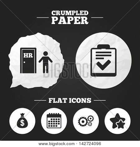 Crumpled paper speech bubble. Human resources icons. Checklist document sign. Money bag and gear symbols. Man at the door. Paper button. Vector