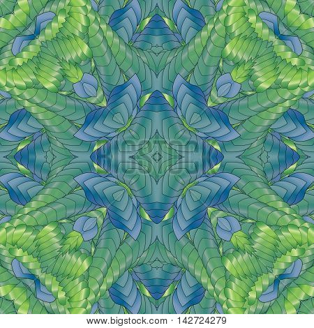 Kaleidoscopic green pattern leaves and geometric.  design textile printing industry in a variety of design projects.