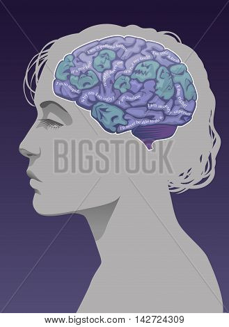 Female brain with horrible faces and phrases depicting low self-esteem and the ego.