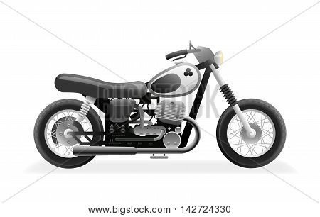 Retro Motorcycle Bike Icon Isolated Realistic Design Vector Illustration