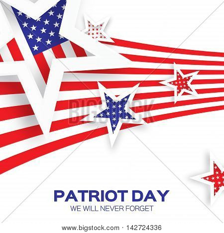 Origami Patriot Dayon white background with stars and stripes. Abstract american flag. We will never forget. September 11 2001. Vector illustration. Poster Template.