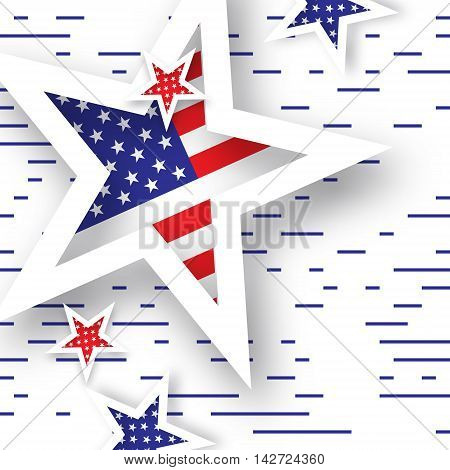 Origami Patriot Day background with stars and lines. Abstract american flag. Vector illustration. Poster Template.