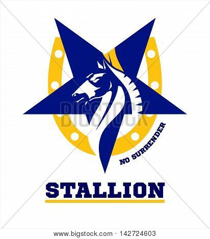 horse. horse mascot. Stallion. Horse head combine with star icon and horseshoe.