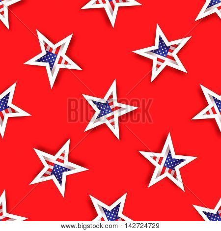 Abstract american flag seamless pattern. Origami Patriot Day on red background with stars and stripes. Vector illustration