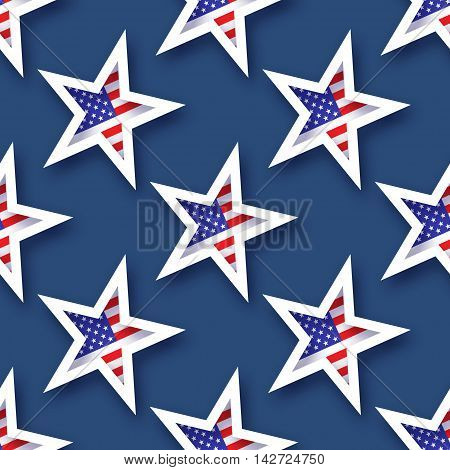 Abstract american flag seamless pattern. Origami Patriot Day on blue background with stars and stripes. Vector illustration