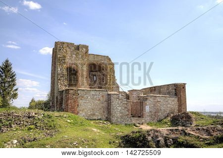 Ruined Church of the Annunciation at the Rurik fortress. Veliky Novgorod, Russia.