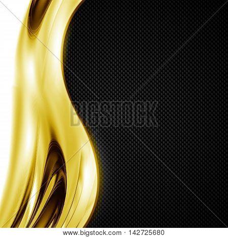 black carbon fiber and gold curve chromium frame. metal background. material design. 3d illustration.