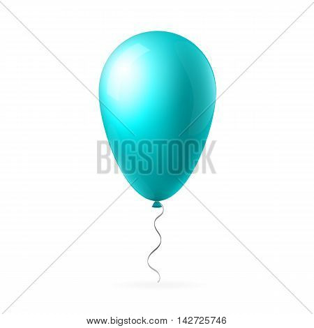 Abstract creative concept vector blue flight balloon with ribbon. For Web and Mobile Applications isolated on background, art illustration template design, business infographic and social media icon.