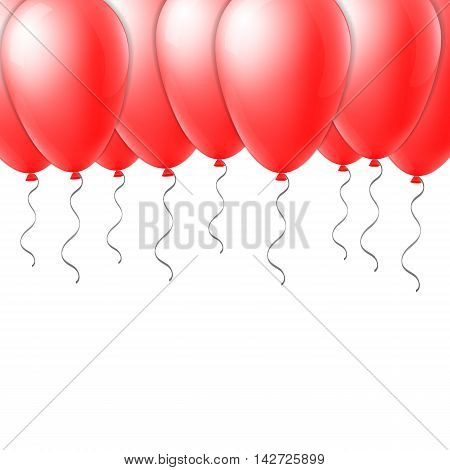 Abstract creative concept vector red flight balloon with ribbon. For Web and Mobile Applications isolated on background, art illustration template design, business infographic and social media icon.