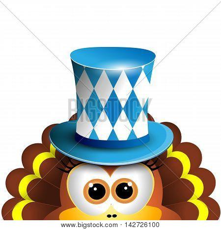 Funny turkey. Oktoberfest Card Design Template. Vector illustration. Hollyday background