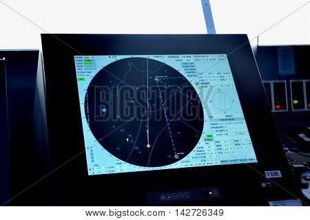 North Sea England United Kingdom - July 28 2016: Radar and location screen on bridge of passenger Cruise ship
