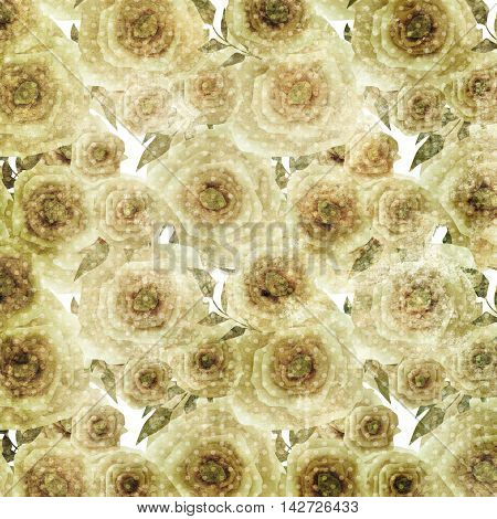 Grunge romantic blurred roses background pattern texture print