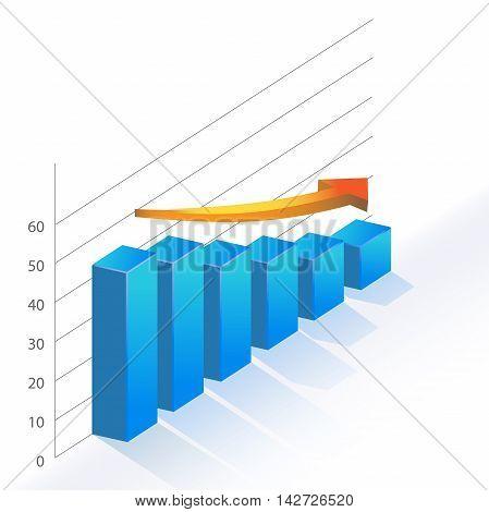 Sales Bar Chart Statistic diagram falling down vector illustration