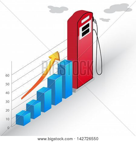Gasoline pump Business Statistic Bar Chart vector 3d diagram vector illustration