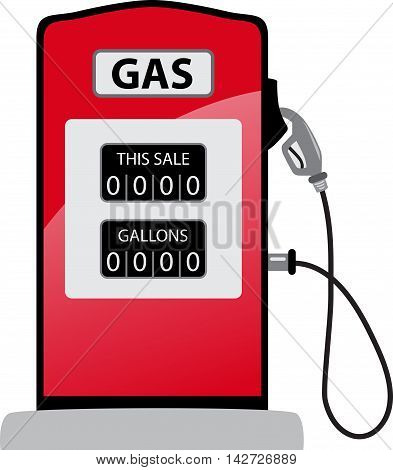 Gasoline pump gas old petrol red fuel with nozzle