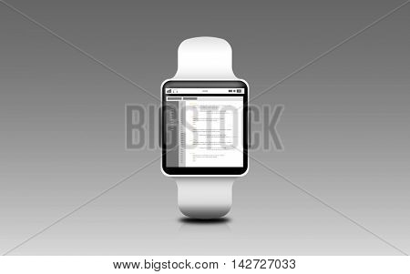 modern technology, object and programming concept - illustration of smart watch with coding on screen over gray background