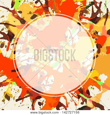 Template with semi-transparent white circle over bright orange colorful artistic paint splashes ready for your text.