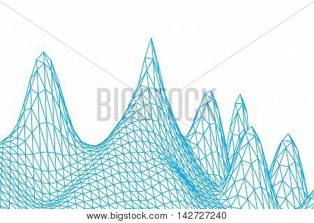 blue color grid squares in perspective on white background. abstract background for design technology programming information related to Information Technology media game. mountains terrain model