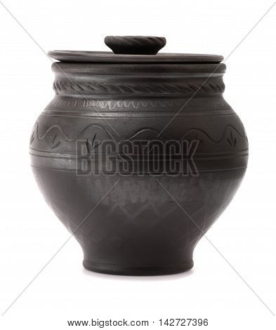 Black clay pot isolated on white background