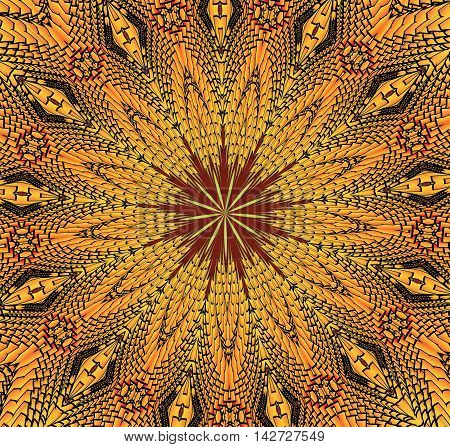 Kaleidoscopic yellow and black pattern. The image is computer graphics created using various programs. It can be used in the design of your site design textile printing industry in a variety of design projects.