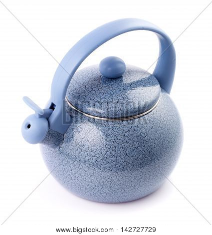 Blue enamel kettle isolated on white background above view