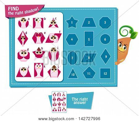 Visual Game for children. Task: find right shadow Geometric shapes in the form of an owl.