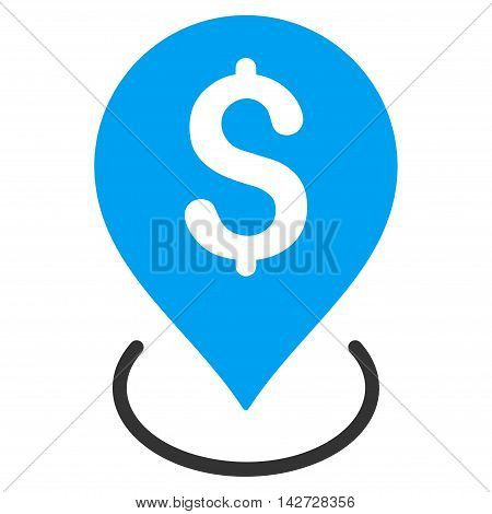 Bank Placement icon. Vector style is bicolor flat iconic symbol with rounded angles, blue and gray colors, white background.