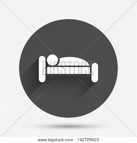Human in bed sign icon. Travel rest place. Sleeper symbol. Circle flat button with shadow. Vector