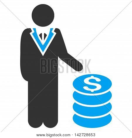 Businessman icon. Vector style is bicolor flat iconic symbol with rounded angles, blue and gray colors, white background.