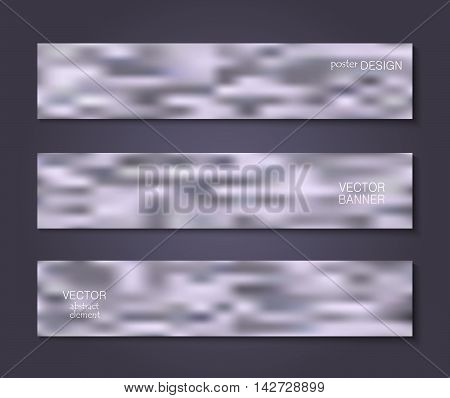 Set purple striped banners with smoke. Patterns with the effect of steam or gas for creative design.