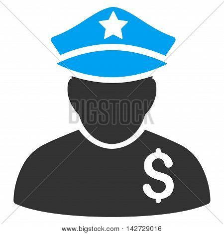 Financial Policeman icon. Vector style is bicolor flat iconic symbol with rounded angles, blue and gray colors, white background.