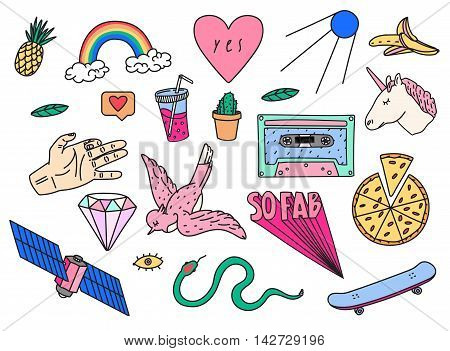 Fun patch summer set. Print pin, badge, sticker, collection. Vector illustration.Hand drawn unicorn, diamond sputnik bird and more