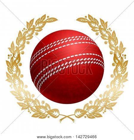 Cricket Ball in Golden Laurel Wreath. Realistic Vector Illustration. Isolated on White Background.