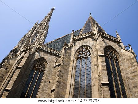 St. Stephen's Cathedral in Vienna on sky background. Stephansdom