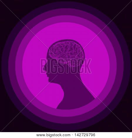 Silhouette of the human head with brain. Low poly human brain. Vector illustration of purple abstract brain.