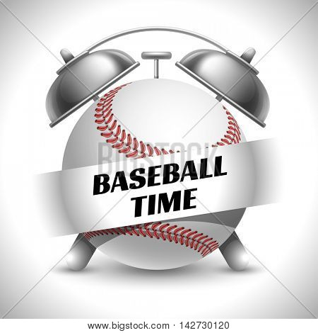 Concept on Sport Baseball Theme. Time to Play Sports. Time to Watch Baseball Tournament. Time To Play Baseball. Vector Illustration. Isolated On White background.