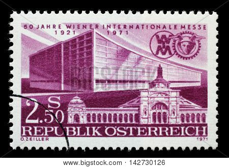 ZAGREB, CROATIA - JULY 02: stamp printed by Austria dedicated to 50 years of the Vienna Fair, shows First and Latest Exhibition Halls, circa 1971, on July 02, 2014, Zagreb, Croatia