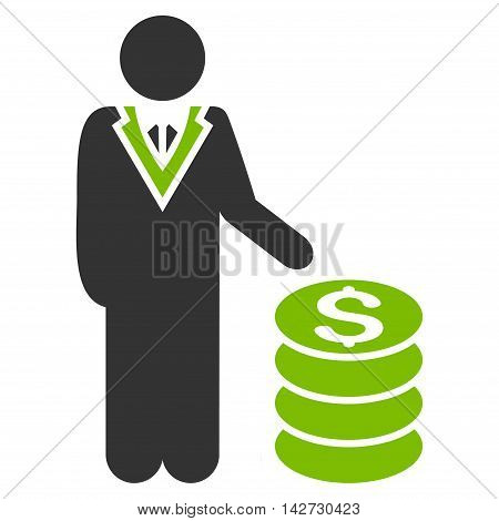 Businessman icon. Vector style is bicolor flat iconic symbol with rounded angles, eco green and gray colors, white background.