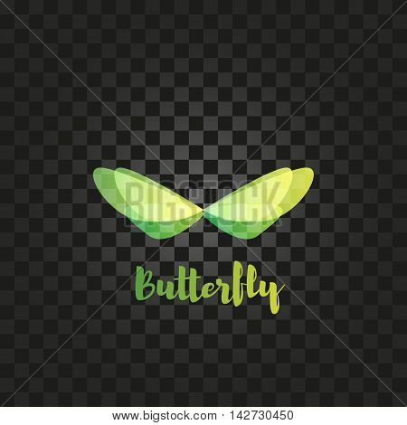 Isolated yellow and green butterfly with writing vector logo. Flying insects logotype. Wild nature elements icon. Wings illustration.