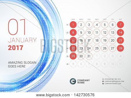 Desk Calendar For 2017 Year. January. Week Starts Sunday. Vector Design Print Template With Abstract