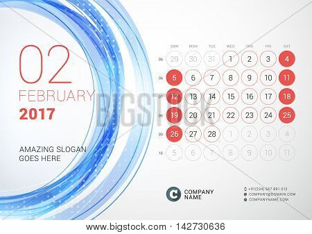 Desk Calendar For 2017 Year. February. Week Starts Sunday. Vector Design Print Template With Abstrac