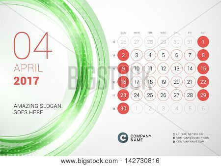 Desk Calendar For 2017 Year. April. Week Starts Sunday. Vector Design Print Template With Abstract C