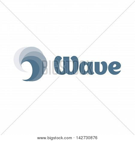 Isolated blue color swirl wave vector logo. Water logotype on the white background.. Tsunami illustration. Liquid sign. Swimming, surfing icon. Ocean, sea element.