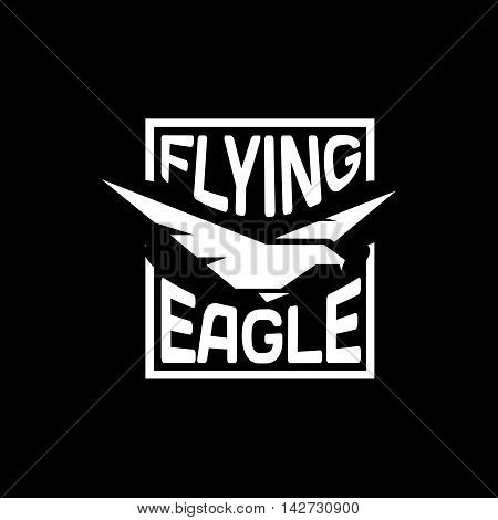 Isolated flying eagle silhouette vector logo. Spreading wings bird logotype. Wild animal contour icon. American national symbol. Flight illustration.