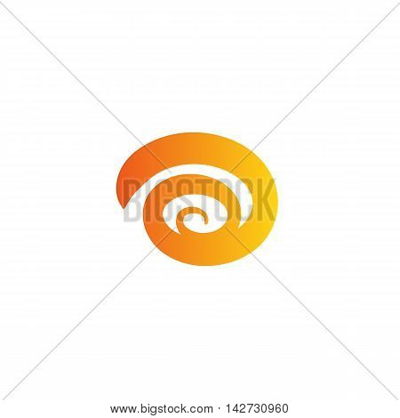 Isolated abstract orange color spiral vector logo. Hurricane, tornado, swirl logotype. Wind element. Spinning ribbon sign.