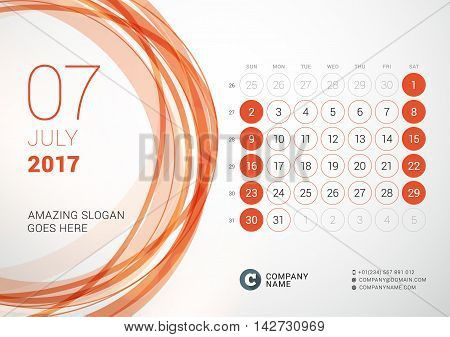 Desk Calendar For 2017 Year. July. Week Starts Sunday. Vector Design Print Template With Abstract Ci